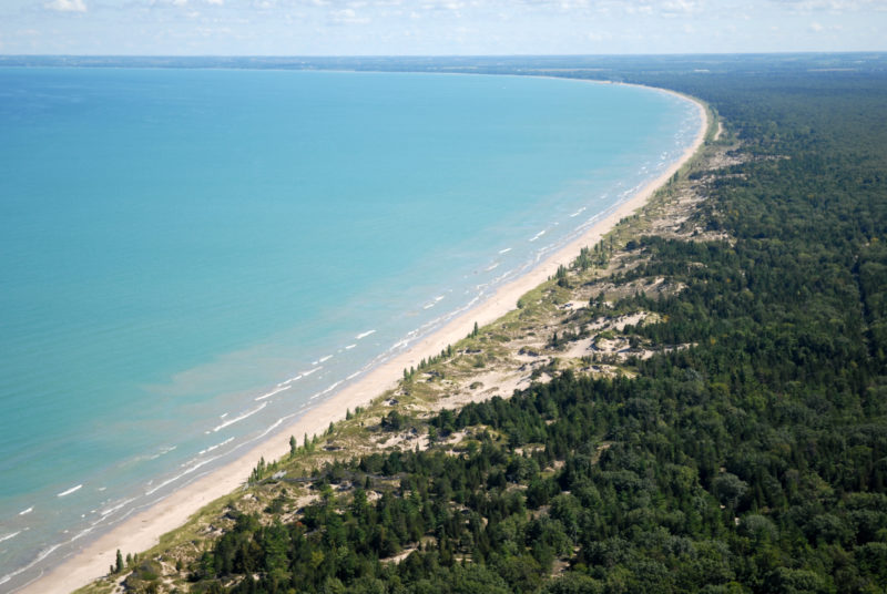 Sand beach and dune complexes are found along the southeastern shores, such as those pictured here near Pinery Provincial Park. Credit: Daniel Holm Photography