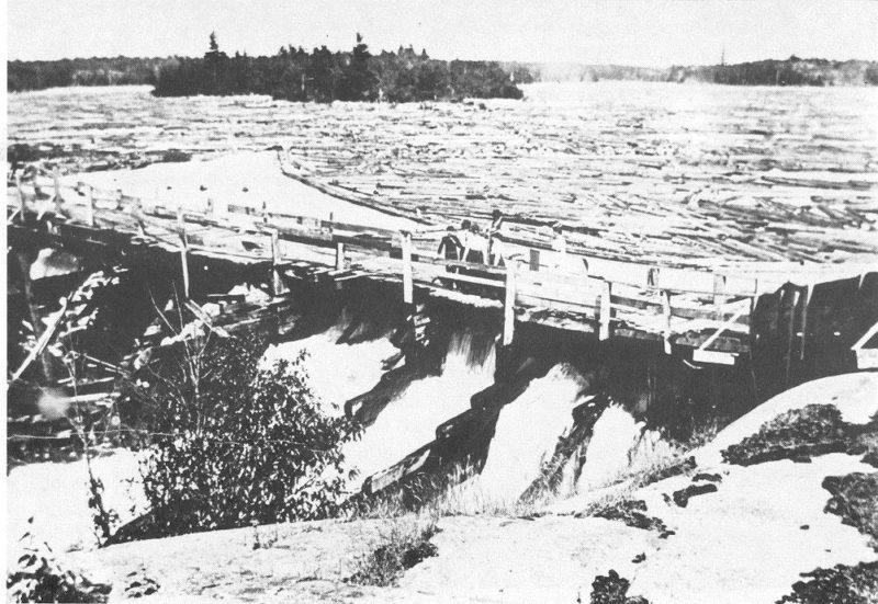 A historic log boom on the Musquash River.