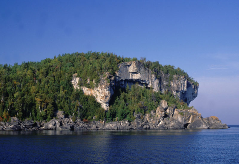 Exposed limestone bluffs at Cave Point, Bruce Peninsula.
