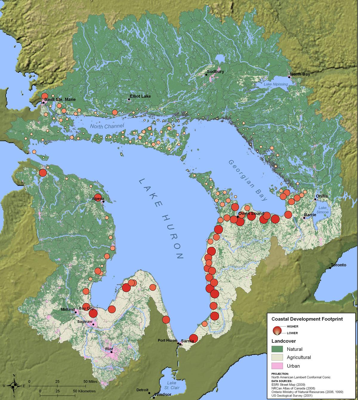 map of lake huron shoreline About The Lake Huron Watershed Lake Huron Community Action map of lake huron shoreline